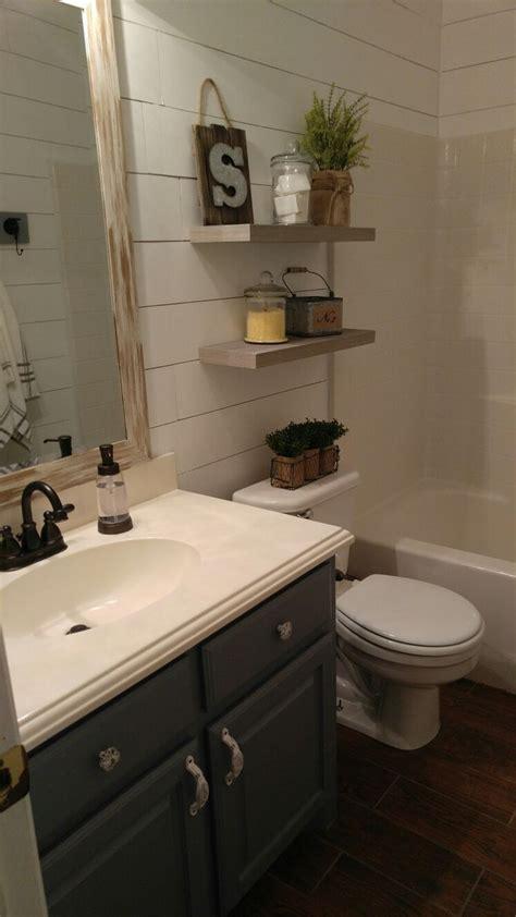 farmhouse bathroom floating shelves diy shiplap