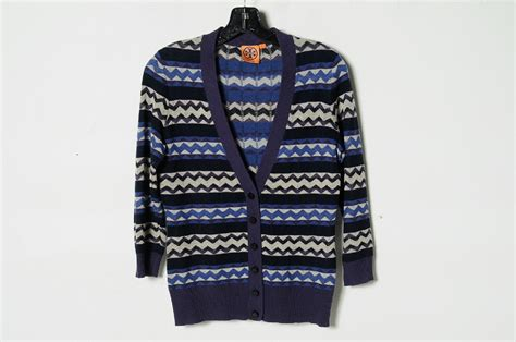 Tory Burch Blue Purple Beige Striped Cashmere Cardigan Sweater Womans Size S