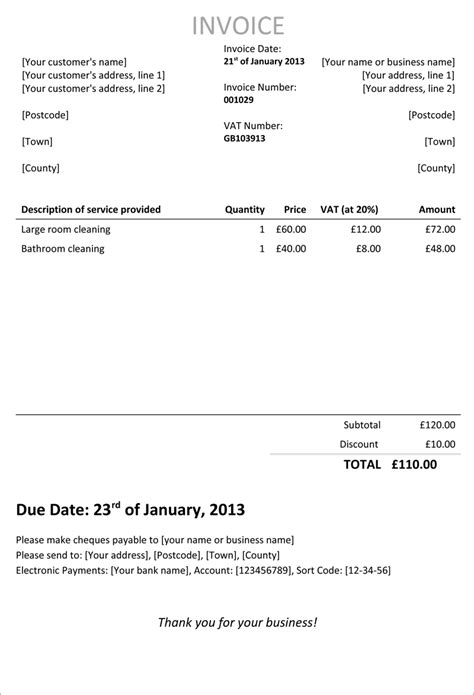 employed invoice template invoice