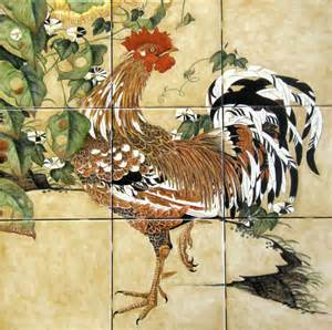 Kitchen Backsplash Mural Quot Ito Jakuchu Rooster Morning Glories Quot Painted Tiles