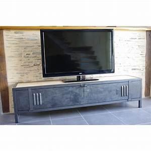 Casier Vestiaire Industriel : meuble tv industriel bois acier avec ancienne porte de vestiaire ~ Teatrodelosmanantiales.com Idées de Décoration