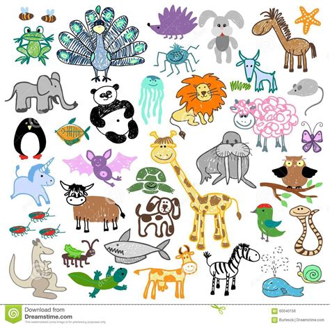 children drawing doodle animals stock vector