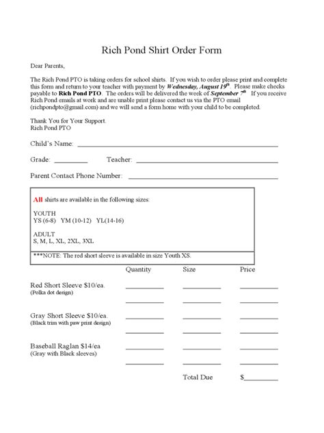 shirt order form   templates   word excel