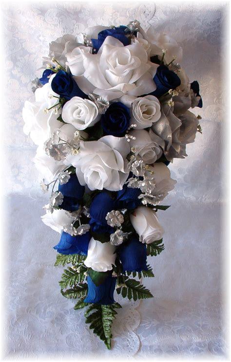Royal Blue Horizon Wedding Bouquet Cascade 2pc White Silver