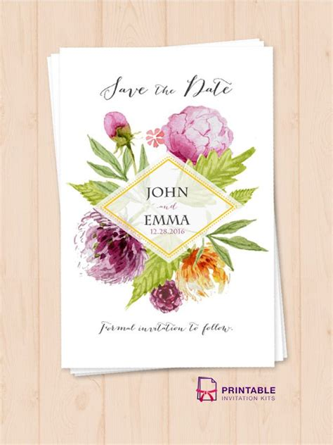 FREEtemplate Watercolor Wedding Flowers Save the