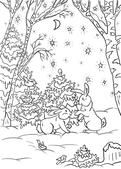winter forest coloring pages    print