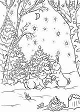Coloring Pages Winter Forest Solstice Nature Fun sketch template