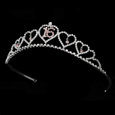 silver rhinestone sweet sixteen 16 sparkling sweet 16 tiara covered in clear pink