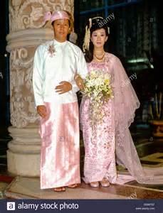 where to buy a wedding dress married wearing traditional costume wedding rangun yangon stock photo royalty free