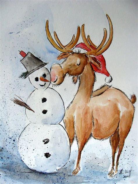 bild advent elch tierkarikatur karikatur von christine