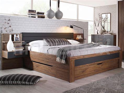 Lade X Da Letto Bed Bernie 180x200 Cm Walnoot Grijs Metaal Met Drie Lades