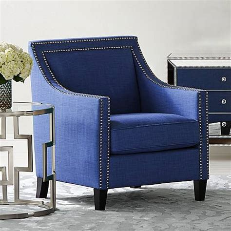 flynn navy blue upholstered armchair  lamps