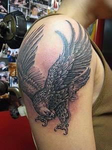 Eagle Tattoo On Right Shoulder For Men