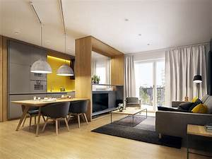 Modern, Scandinavian, Apartment, Interior, Design, With, Gray, Color, Shade
