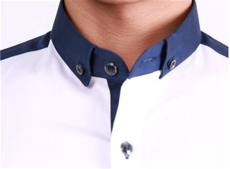 white button  shirt  navy blue square collar