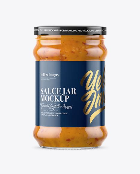 The biggest source of free photorealistic bottle mockups online! Clear Glass Jar with Sweet & Sour Sauce Mockup in Jar ...