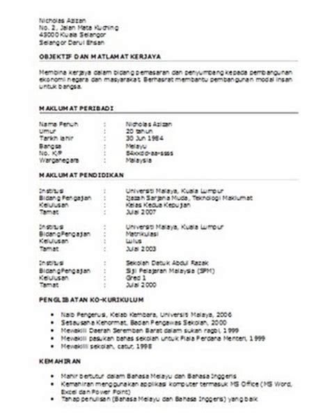 contoh resume untuk spa kerja khairilz dot net