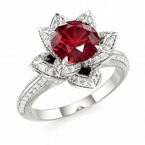Ruby lotus ring ruby engagement ring ruby romance for Wedding rings with rubies