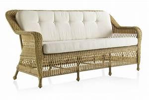 Canapé de jardin 3 places en résine tressée miel Brin d