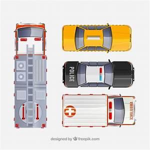 Voiture Vu De Haut : vue de dessus du camion de pompier du taxi de la voiture de police et de l 39 ambulance ~ Medecine-chirurgie-esthetiques.com Avis de Voitures