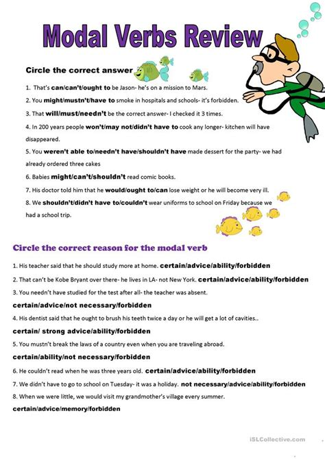 Modal Verbs Exercises Level B1  126 Free Esl Modal Verbs Worksheets12 Be Able To Worksheets93