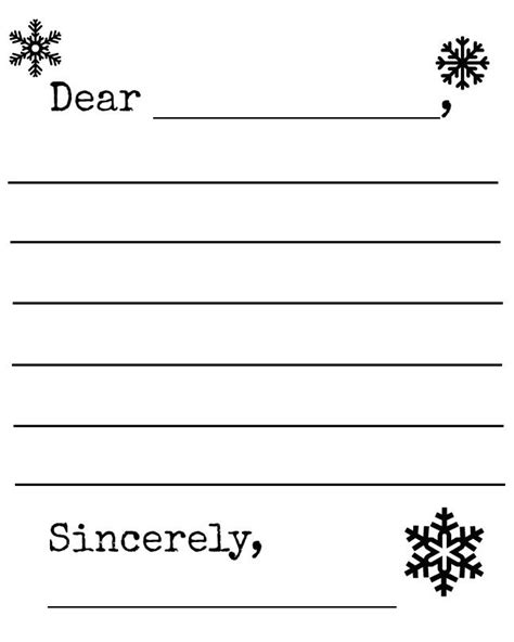 snowflake letter template printable craft