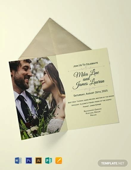 editable wedding invitation template word psd