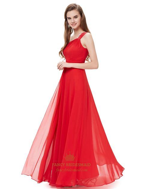 flowy dresses flowy one shoulder chiffon bridesmaid dresses with