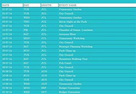 Community Events Calendar Template by Monthly Community Event Planner Template Formal Word