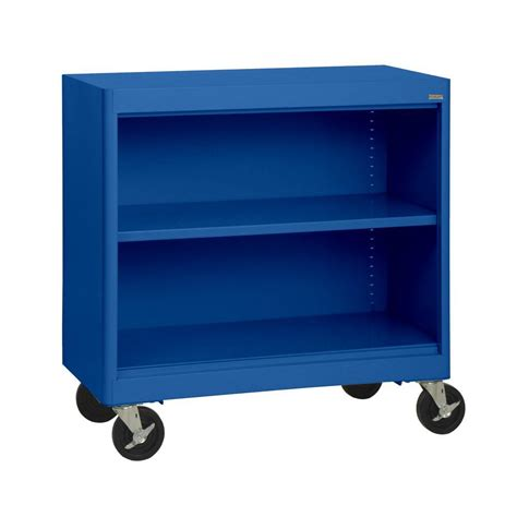 Blue Bookcase by Sandusky Radius Edge Blue Mobile Steel Bookcase Bm1r361830