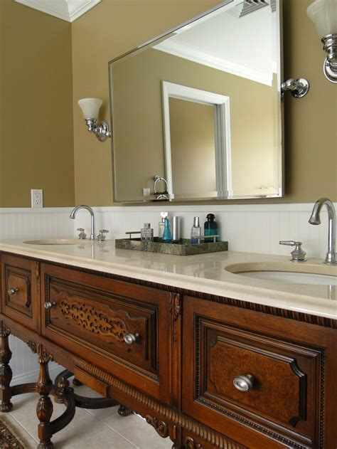 repurposed antique buffetsideboard turned bath double