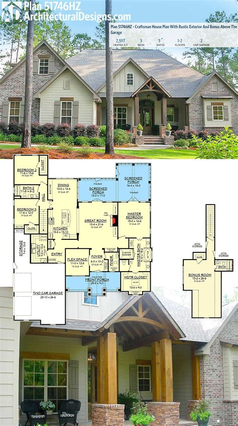 plan hz craftsman house plan  rustic exterior