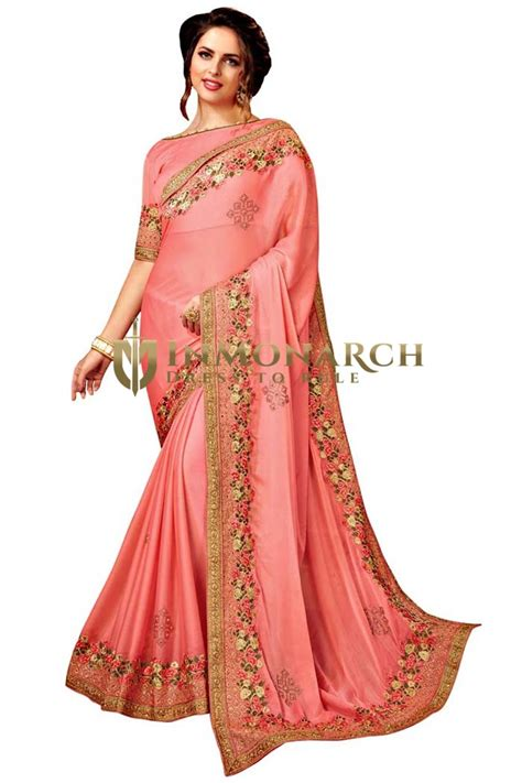 pfirsich satin chiffon bridal saree inmonarch