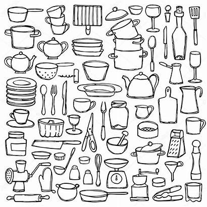 Kitchen Coloring Doodle Doodles Cucina Cocina Drawn
