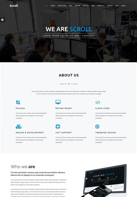 About Us Page Template Scroll One Page Template Themes