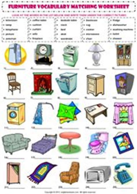 house furniture vocabulary  worksheets  pinterest
