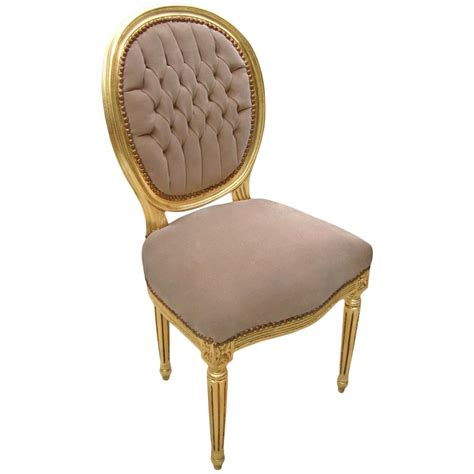 chaise dor e chair louis xvi style taupe velvet fabric and gilded wood