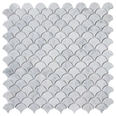 carrara white marble medium fish scale fan shaped mosaic tile honed traditional wall and