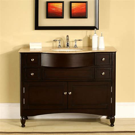 Vanity In - 45 inch travertine top single sink bathroom vanity
