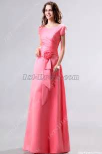 bridesmaid dresses modest modest coral v neckline sleeves bridesmaid dress 1st dress