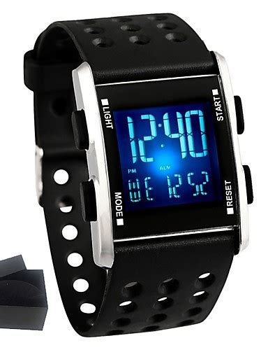 s fashion smartwatch digital quartz silicone rubber black water resistant
