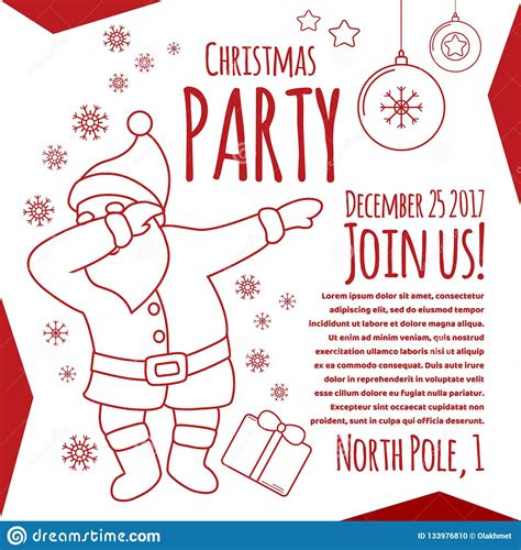 Christmas Party Line Art Flyer Card With Typography Funny