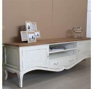 Meuble Tv Hifi : meuble tv collection chambord en bois blanc meuble tv meubles bois lecomptoirdesauthentics ~ Teatrodelosmanantiales.com Idées de Décoration