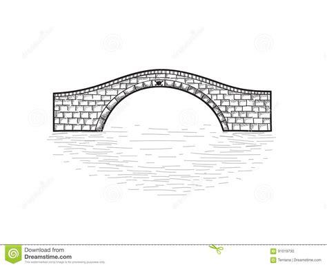 Small Stone Bridge Sign Isolated. Engraving Retro ...