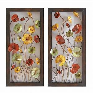 Pair of framed colorful flowers floral metal wall art
