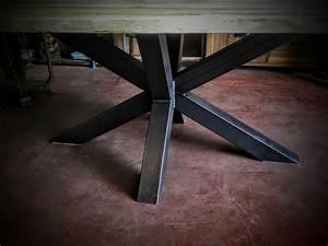 Pied De Table Metal Design : table bois m tal pied central design industriel ~ Melissatoandfro.com Idées de Décoration