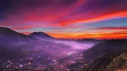 Sunset Clouds Sky Mountain Landscape Indonesia Nature