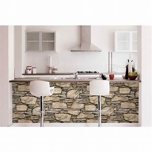 NuWallpaper Brown Hadrian Stone Wall Peel and Stick ...