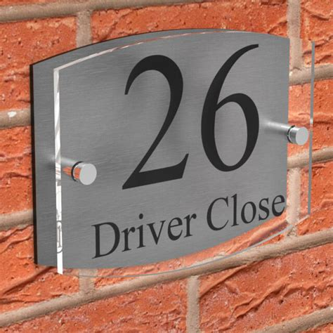clear acrylic house sign modern brushed aluminium door