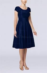 dark blue simple a line scoop short sleeve taffeta knee With knee length dresses for wedding guests